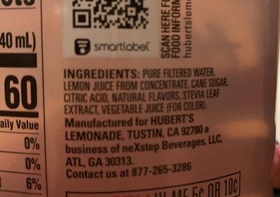 Huberts Lemonade - Ingredients - en