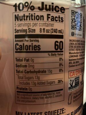 Huberts Lemonade - Nutrition facts - en