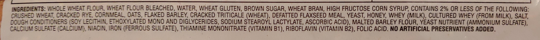 Bread, Soft Multigrain - Ingrediënten - en