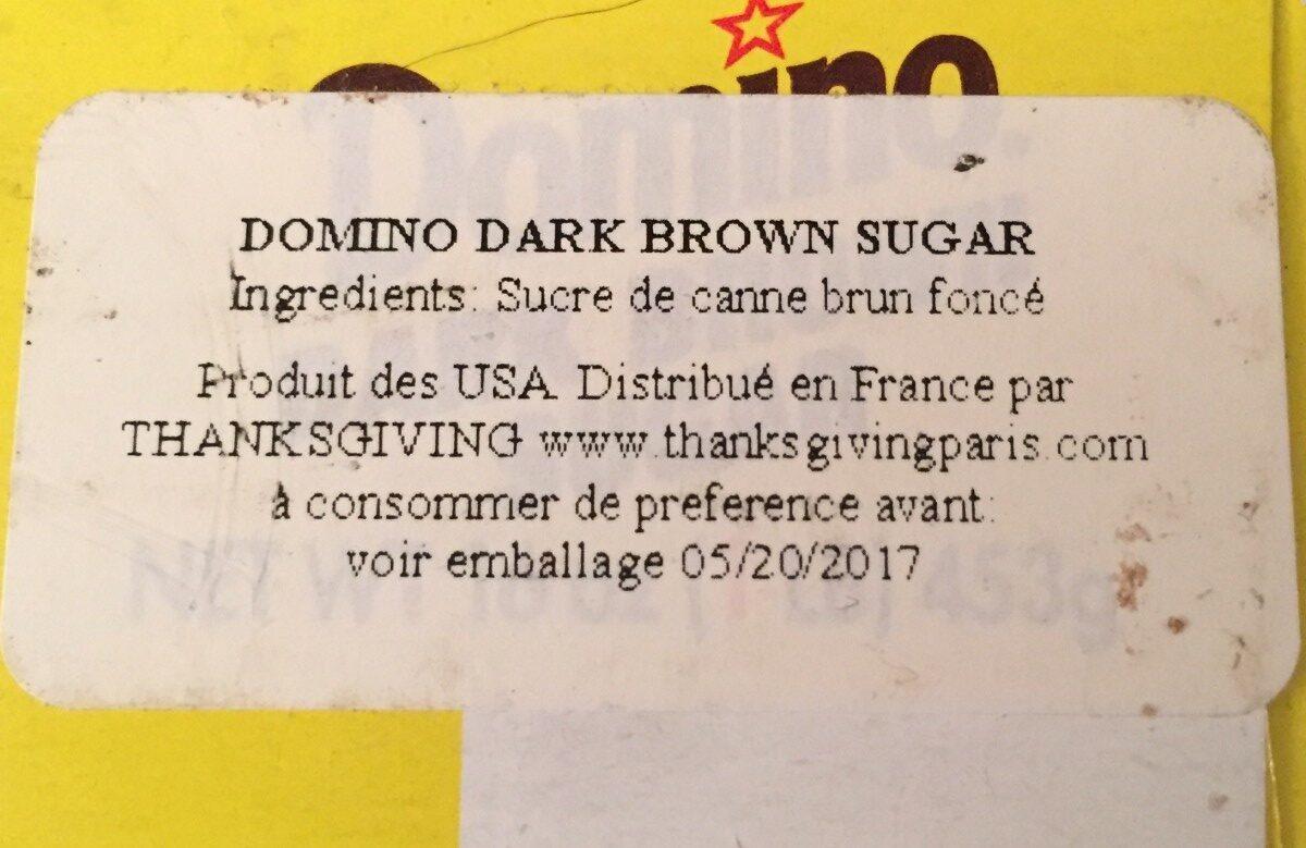Dark Brown Sugar - Ingrédients - fr