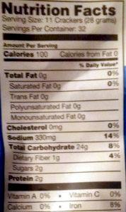 Original pretzel crisps - Nutrition facts - en