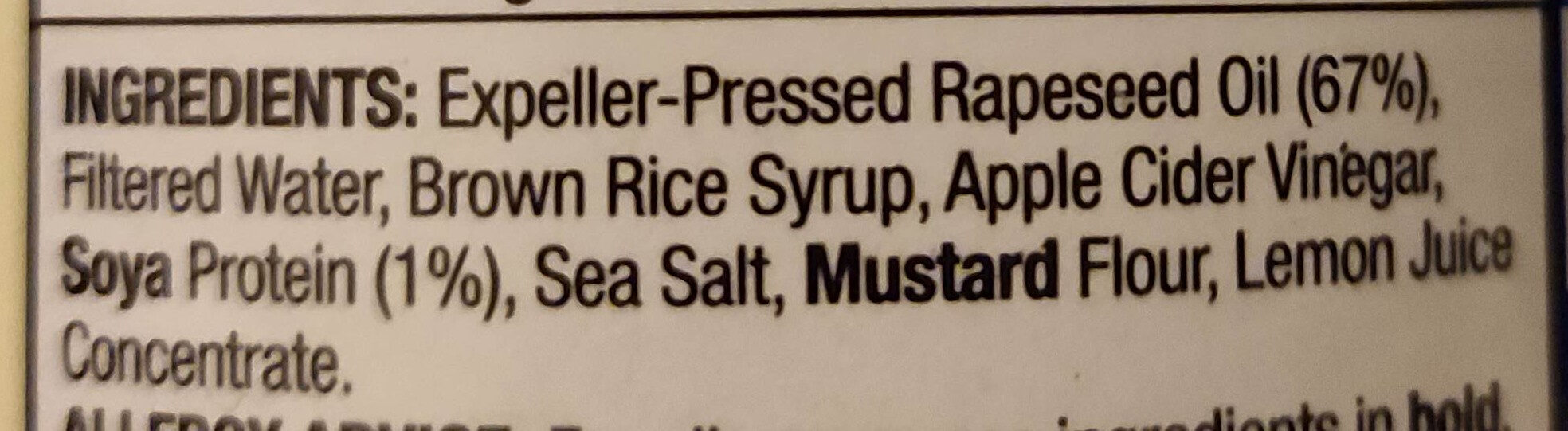 vegenaise - Ingredients - en