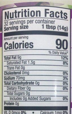 Grapeseed oil vegenaise - Nutrition facts - en