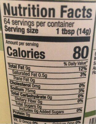 Soy free vegenaise - Nutrition facts - en