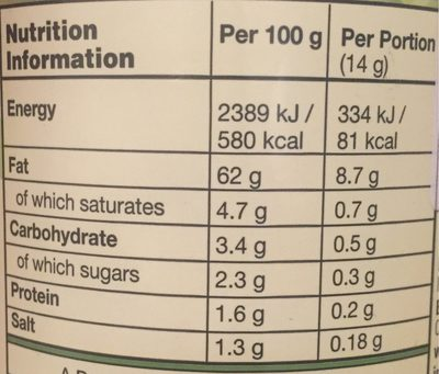 Soya-free Vegenaise - Nutrition facts - fr