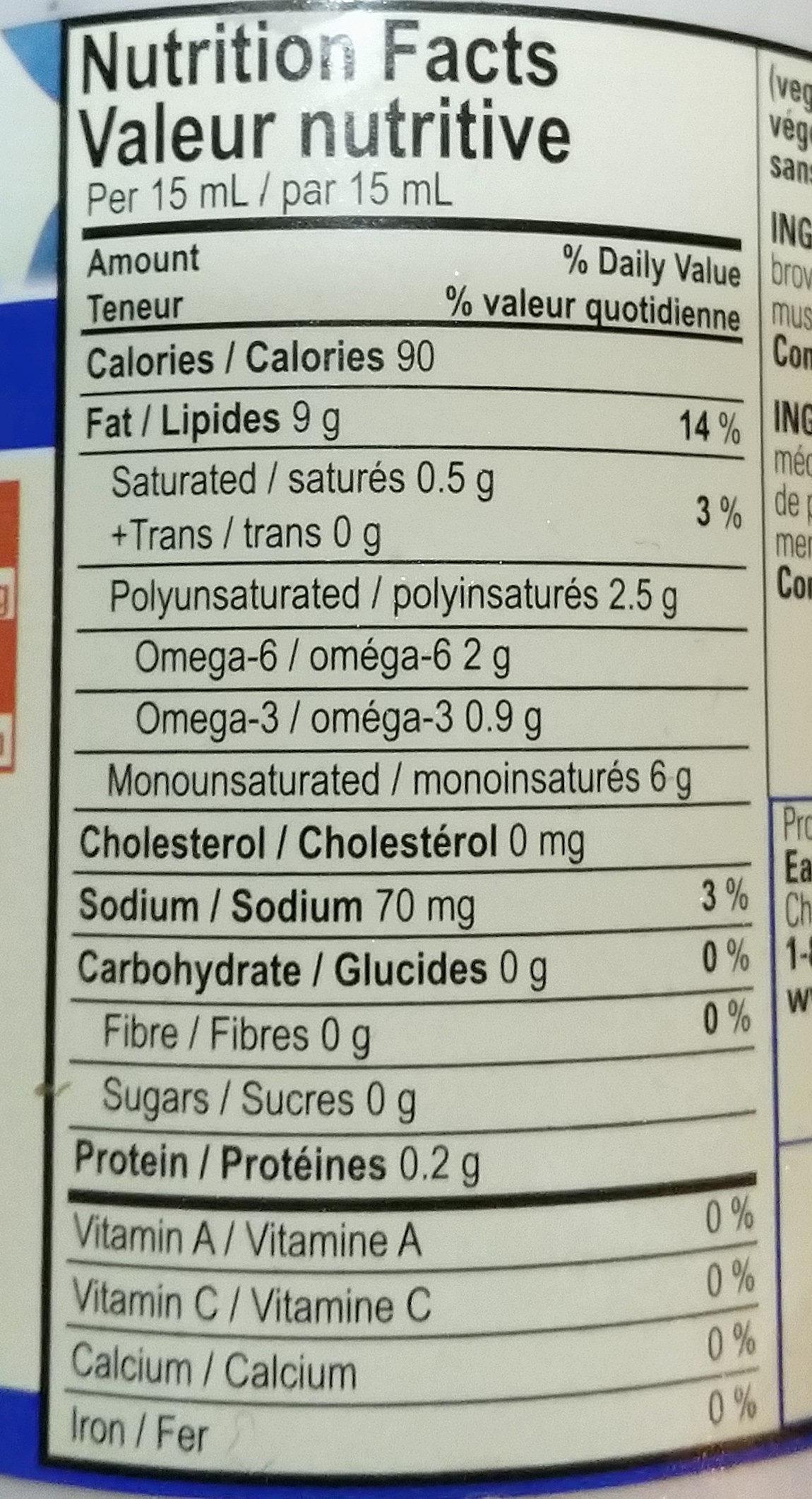 Vegenaise - Informations nutritionnelles