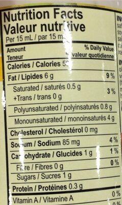 Vegenaise - Nutrition facts - fr