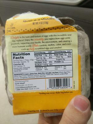Vegan Egg, Plant Based Egg Replacer - Ingredients - en