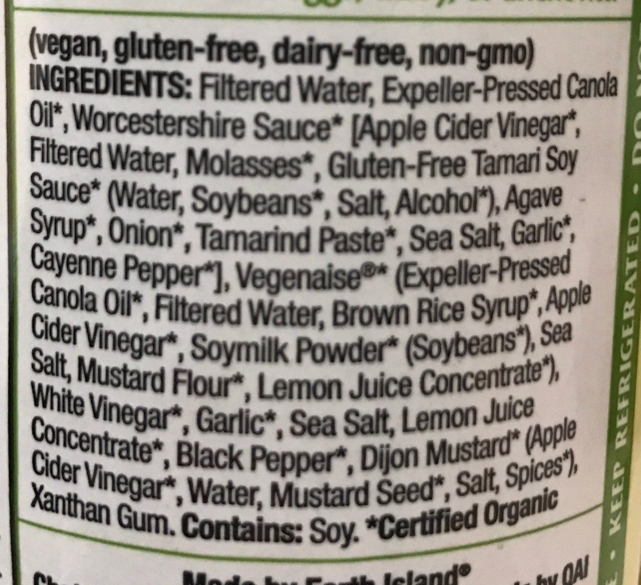 Organic vegan salad dressing, caesar - Ingredients - en
