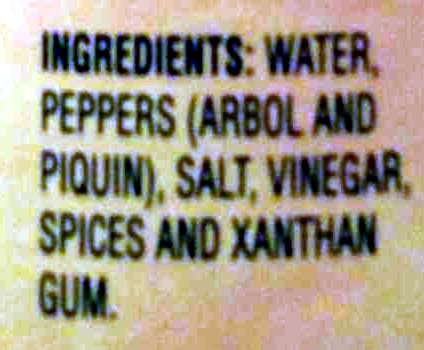 Cholula Hot Sauce Original - Ingredients