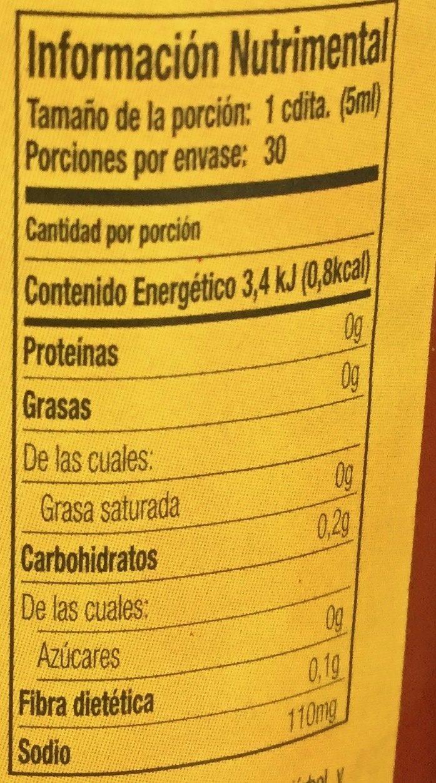 Original hot sauce, original - Información nutricional - es