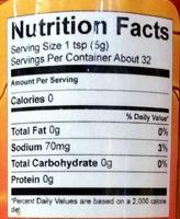 Rasta Fire - Orange Krush - The Habanero Sauce - Nutrition facts