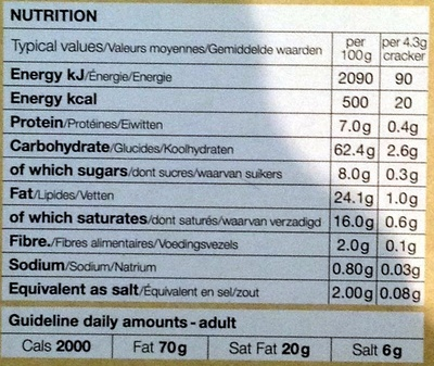 Black Olive crackers - Nutrition facts