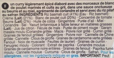 Butter chicken et riz pilaf - Ingredients