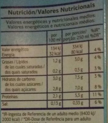 Bebida de soja light - Información nutricional - es
