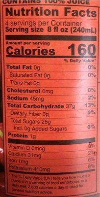 100% Red Tart Cherry Juice - Nutrition facts - en