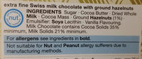 SWISS Chocolate Extra Fine Milk - Ingredients