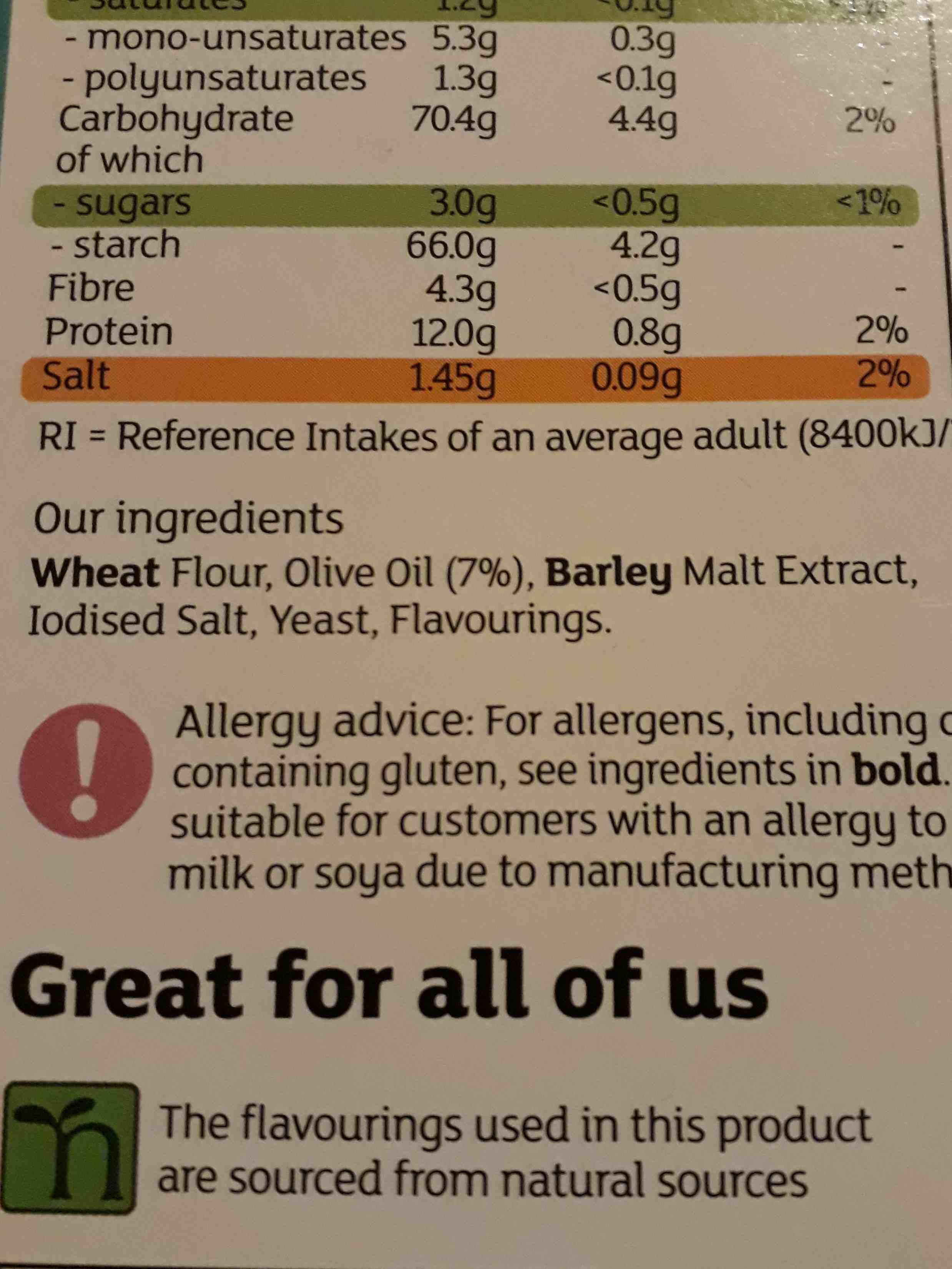 Grissini Breadsticks - Ingredients - en