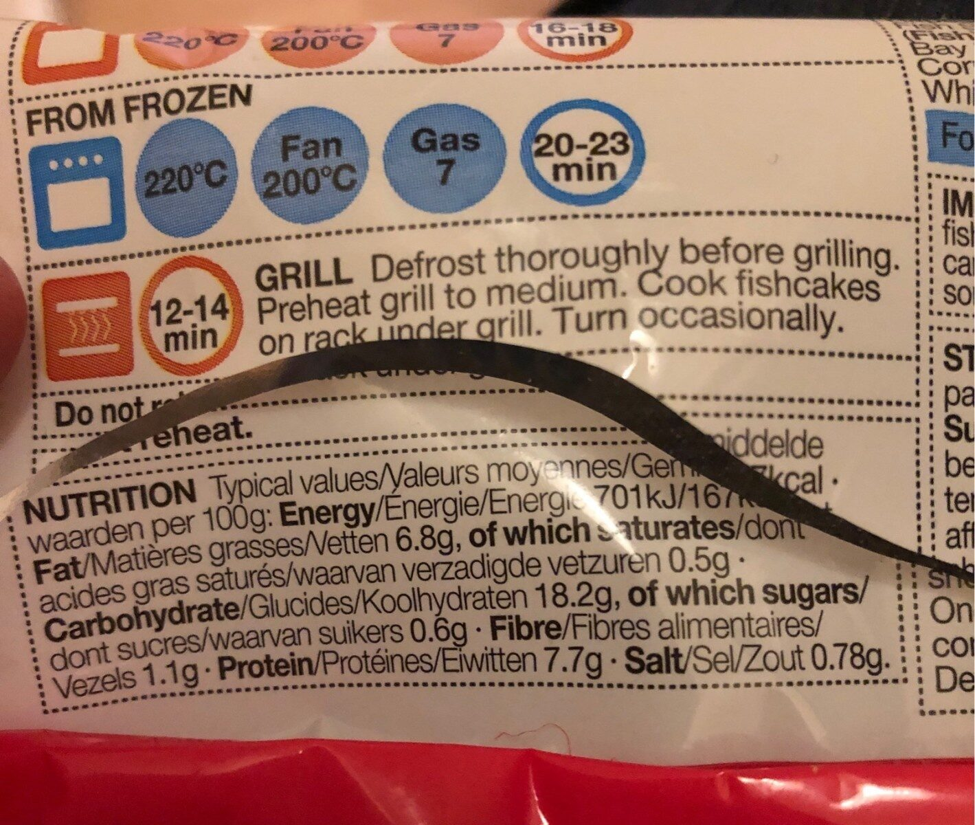 Cod fillet fishcakes - Informations nutritionnelles - en