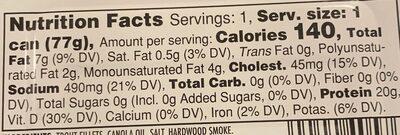 Farm Raised Smoked Trout Filets - Informations nutritionnelles - en