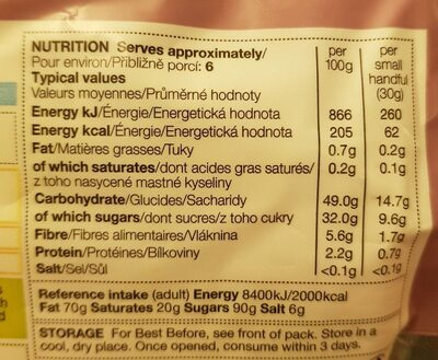 Soft Apricots - Nutrition facts - fr