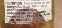 Peach & Raspberry - Informations nutritionnelles