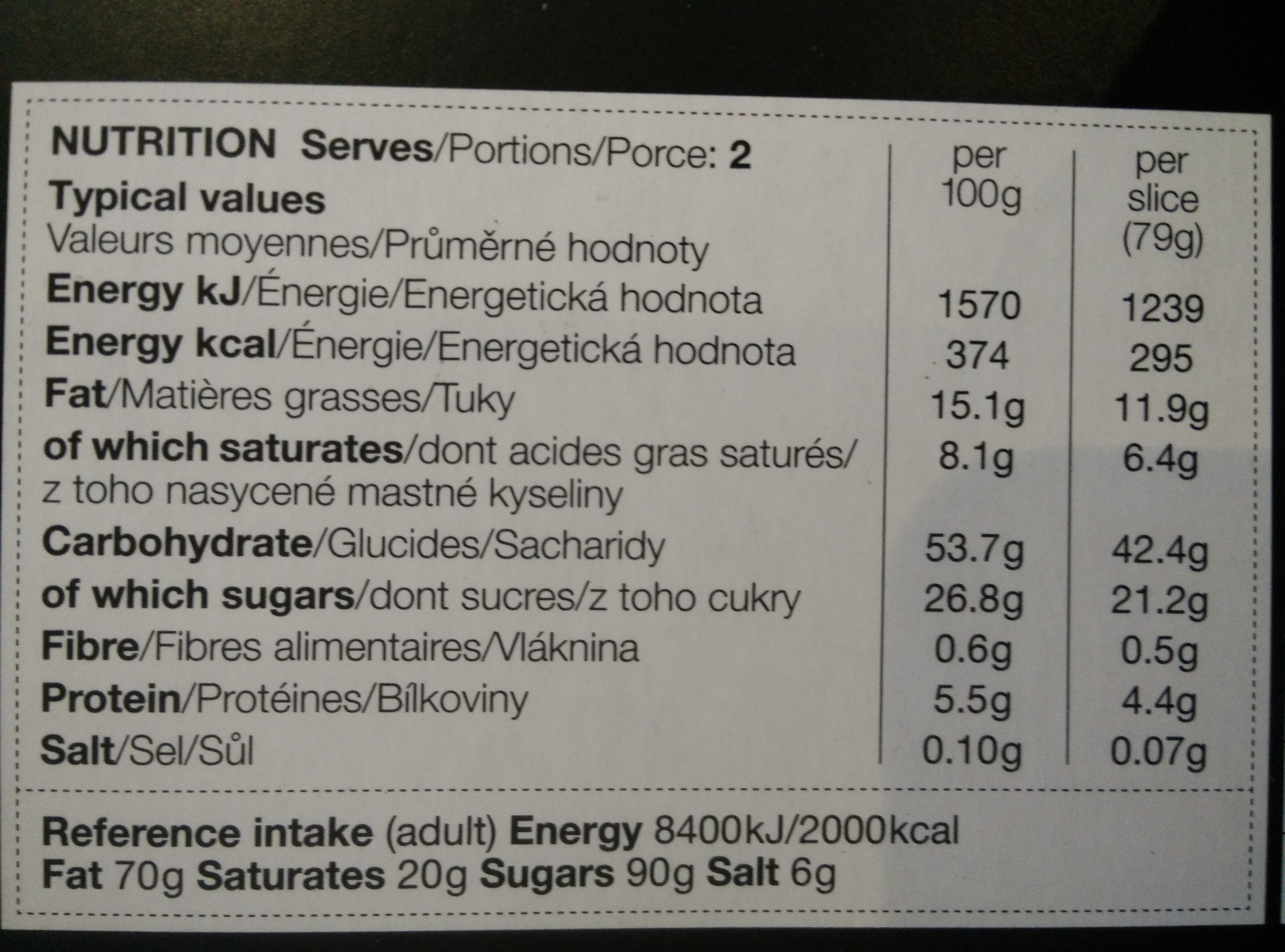 2 tart au citron slices - Nutrition facts
