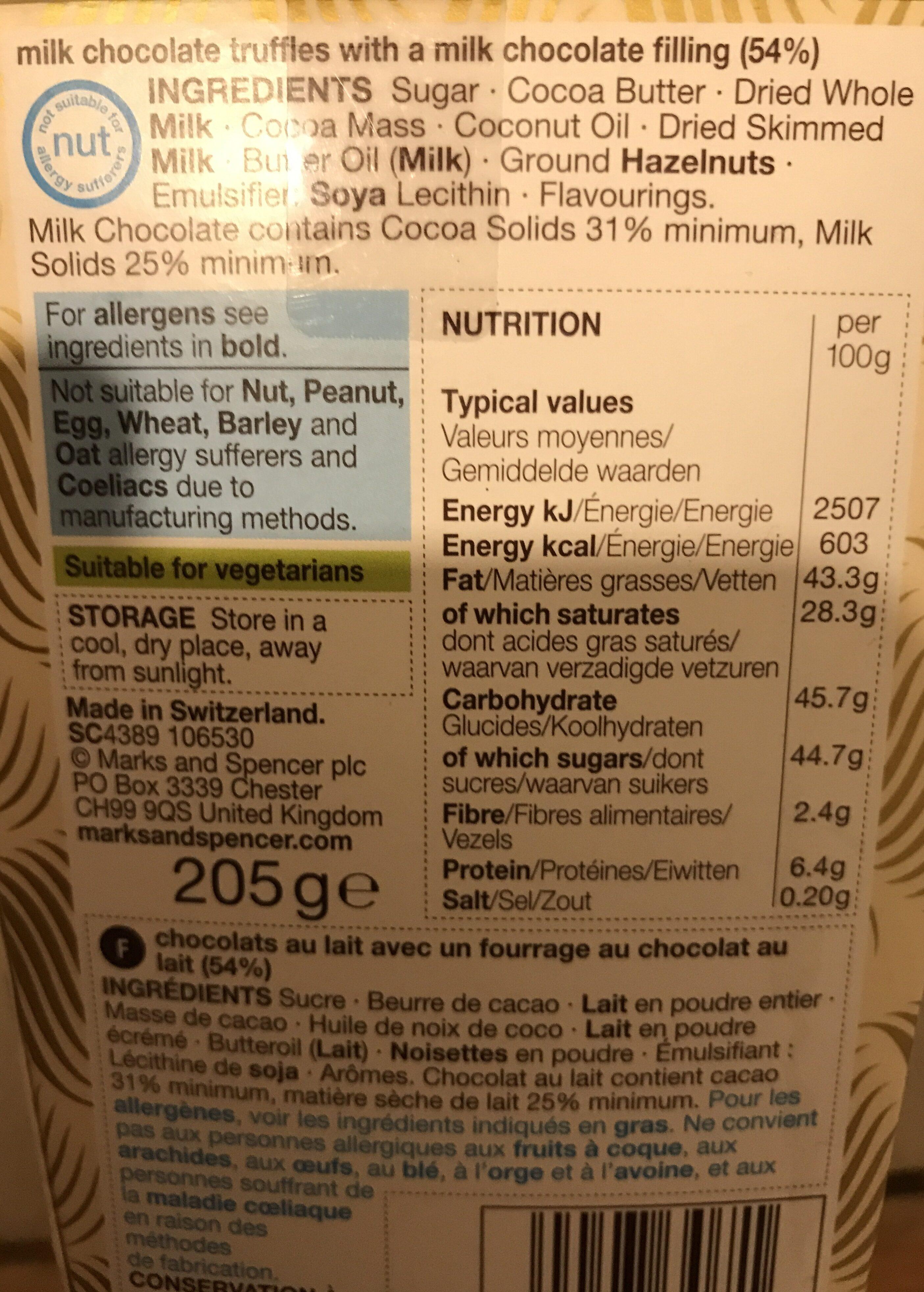 Swiss Chocolate - Ingrédients - en