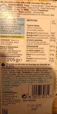 Swiss Chocolate - Informations nutritionnelles