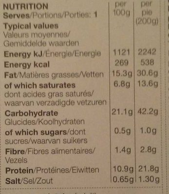Puff Pastry Steak & Ale Pie - Nutrition facts