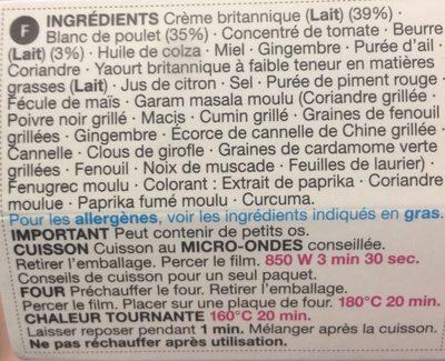 Butter Chicken - Ingredients
