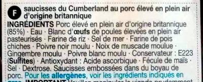 6 Cumberland sausages - Ingrédients