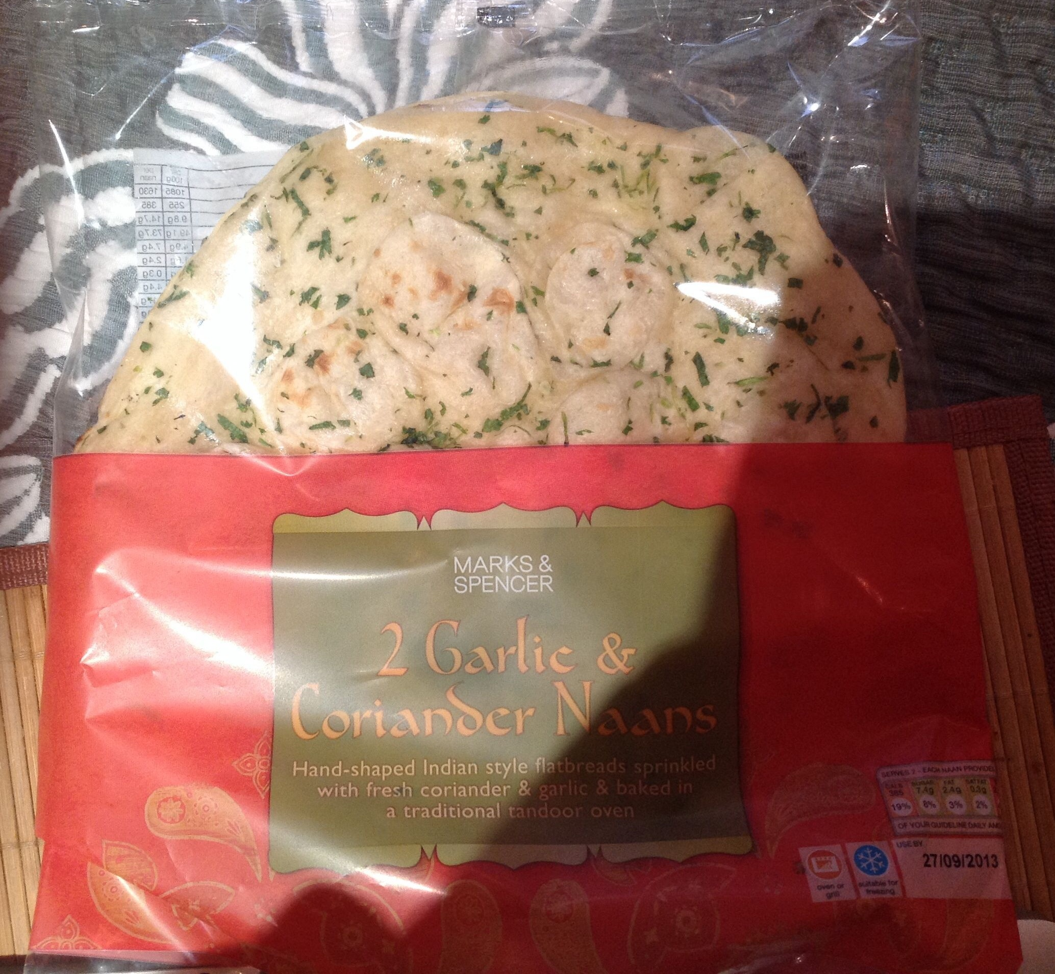 2 Large Garlic and Coriander Naans - Product