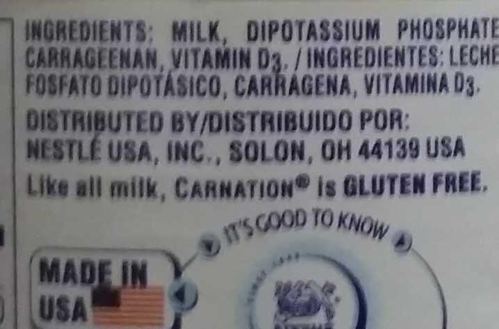 Evaporated Milk - Ingredients
