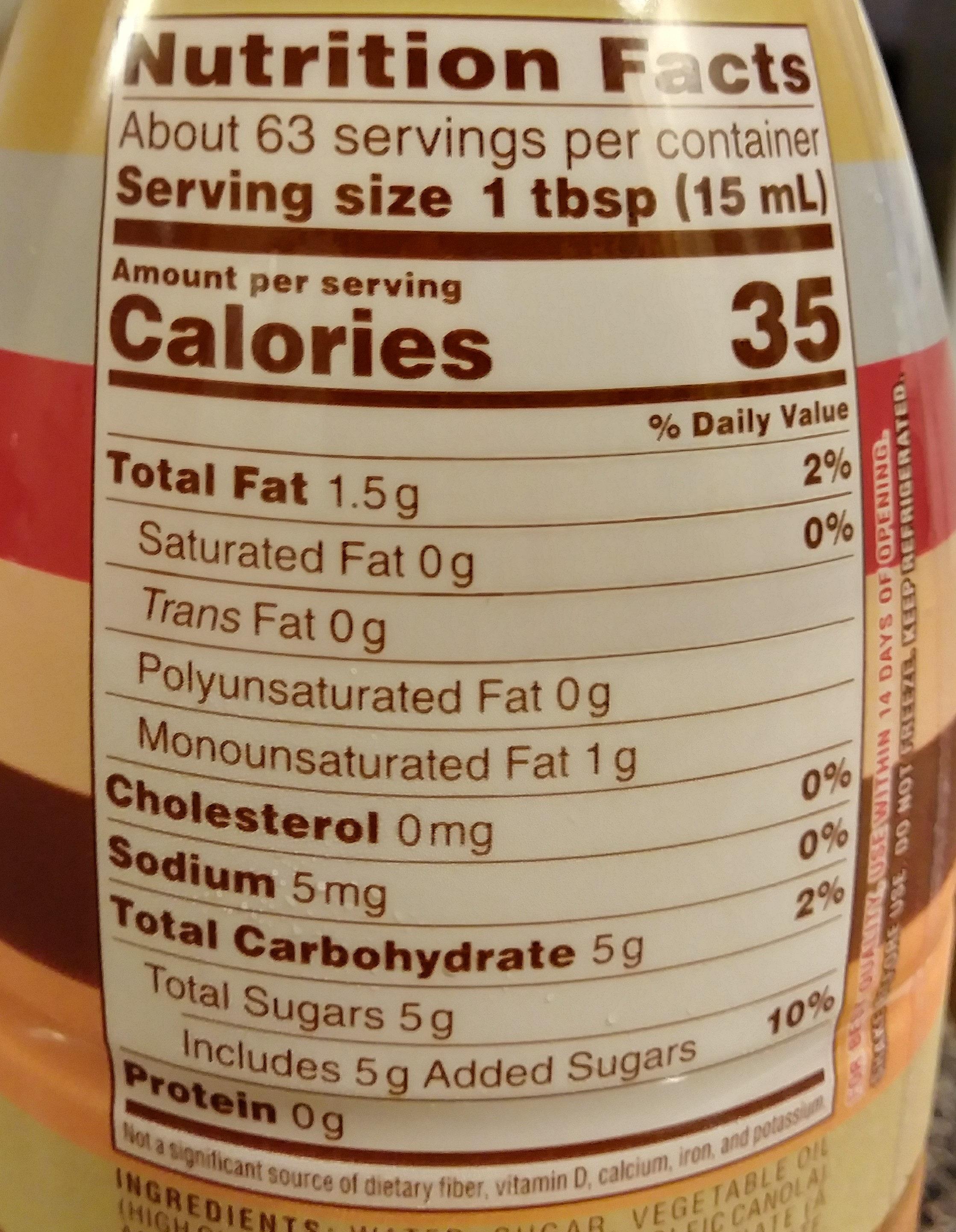 Coffee-mate Dulce de Leche - Nutrition facts