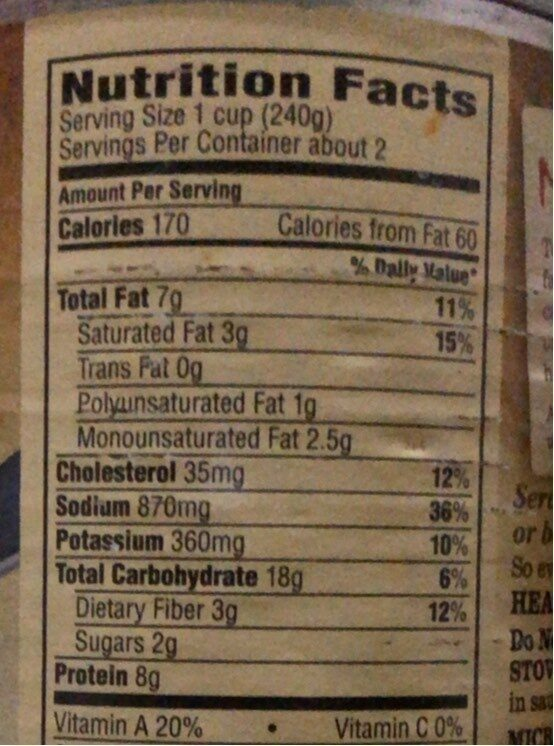 Chicken pot pie soup - Nutrition facts - en
