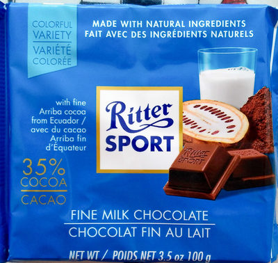 Ritter sport, fine milk chocolate - Product - en