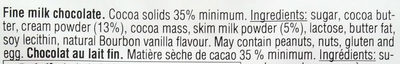 Ritter sport, fine milk chocolate - Ingredients - en