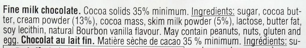 Ritter Sport Fine Milk Chocolate - Ingredients