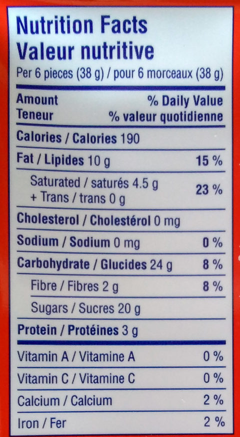 Ritter sport - Nutrition facts