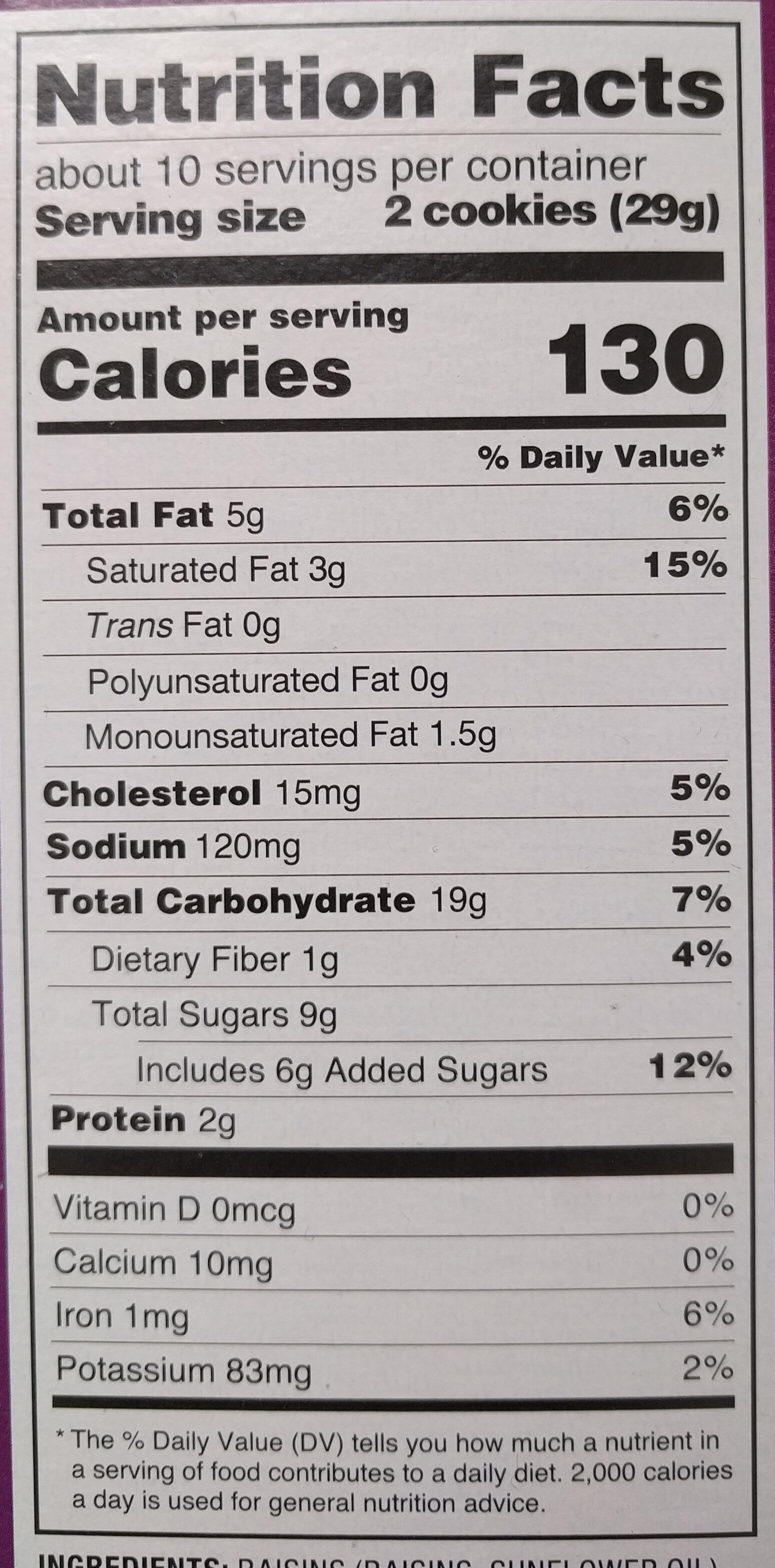 Oatmeal Raisin Cookies - Nutrition facts - en