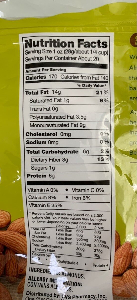 Raw Natural Almonds - Nutrition facts - en