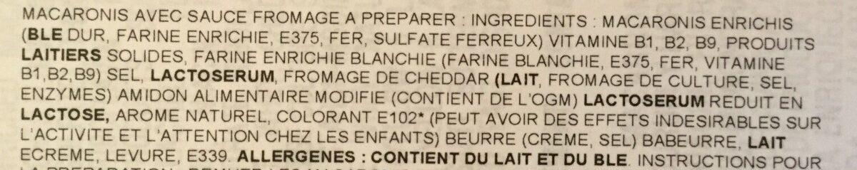 Macaronie and cheese - Ingrédients - fr