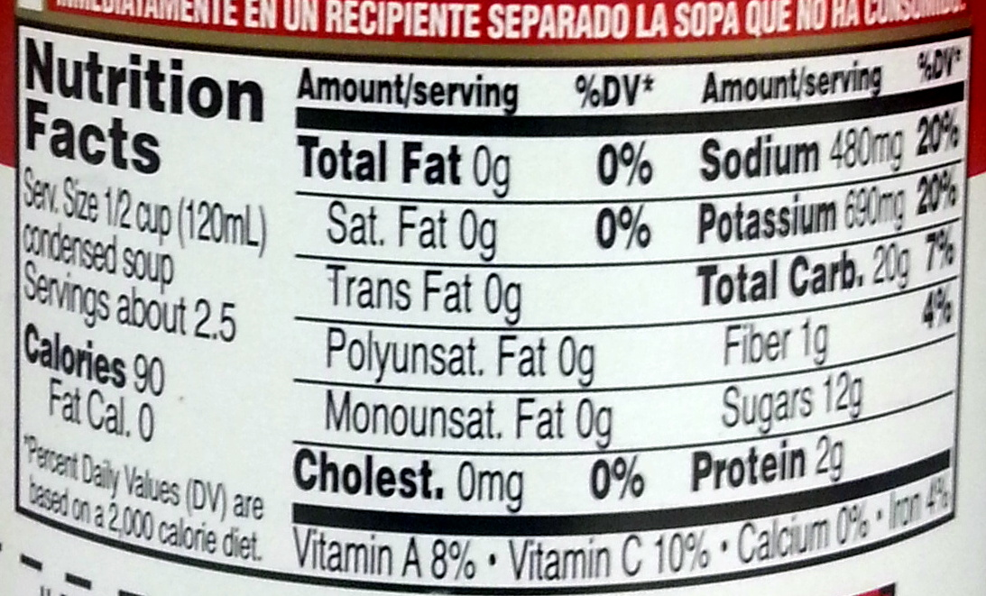 Campbell Tomato Soup - Nutrition facts