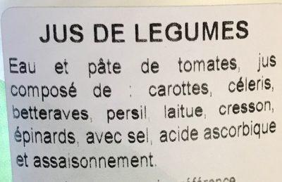 100% vegetable juice - Ingrédients - fr