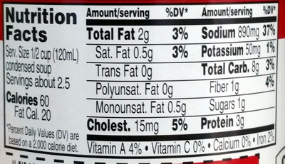 Campbell's condensed soup chicken pasta - Nutrition facts
