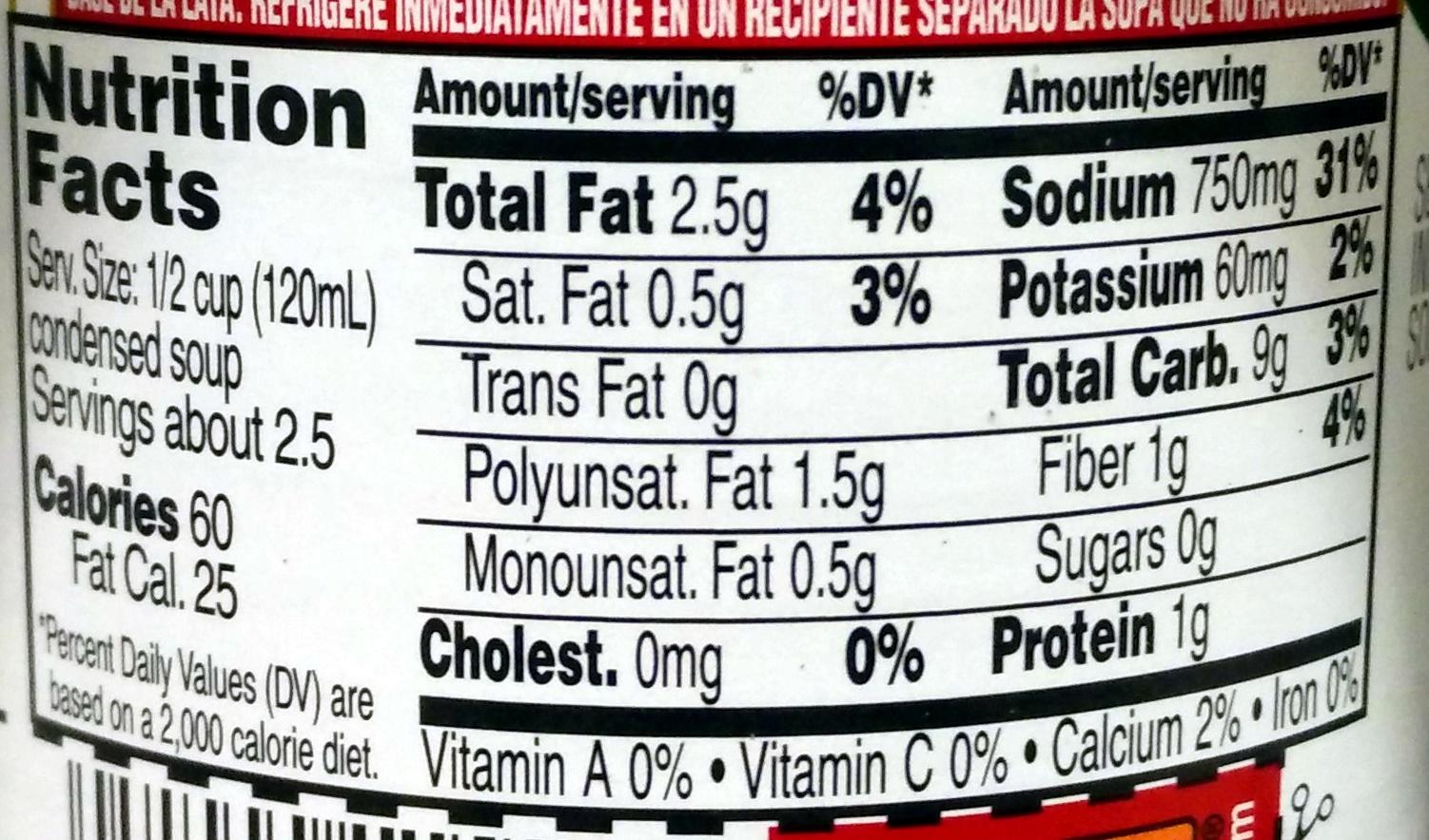 Cream of Mushroom - Nutrition facts