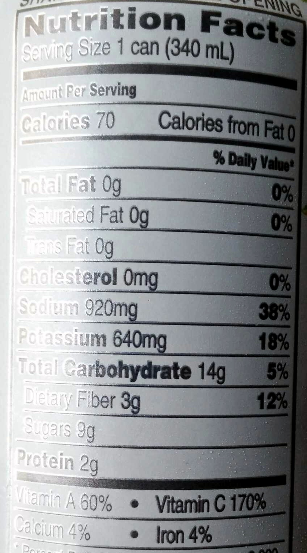 Original 100% Vegetable Juice - Informations nutritionnelles - en