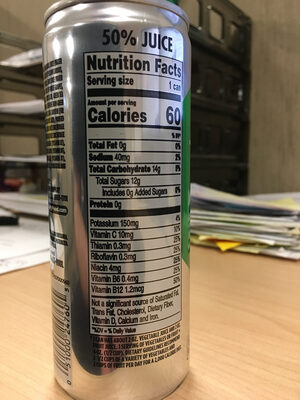 V8 Energy - Nutrition facts