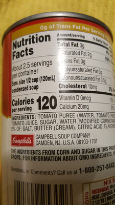 Campbell's condensed soup tomato - Ingredients - en
